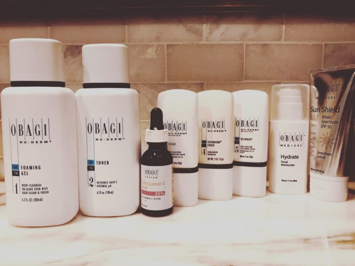 various obagi skincare products on a counter